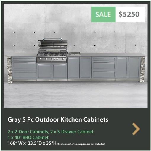 Dealer Design - Zury - Sandra Z - Gray 6 PC Outdoor kitchen: 1xBBQ Grill Cabinet, 3 x 2-Door Cabinet, 2 x 3-Drawer Cabinet 13