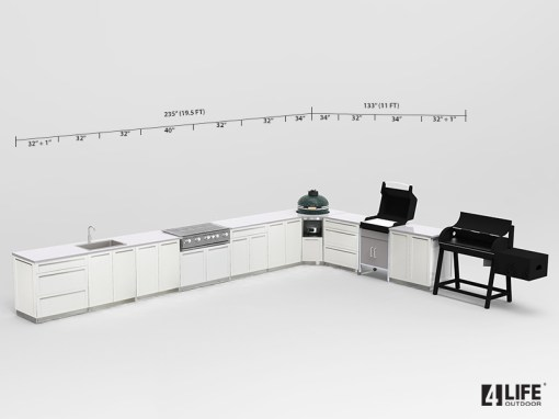 Customer Image Joe S: White 10 PC Stainless Steel Outdoor Kitchen: 4 x 2-door cabinets, 2 x 3 Drawer Cabinet, 1 x Drawer + 2-door Cabinet, 1 x BBQ Cabinet, 2 x side panels 15