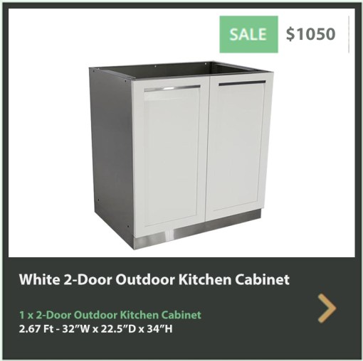 1050 4 Life Outdoor White Stainless Steel Outdoor Kitchen 2-Door Cabinet