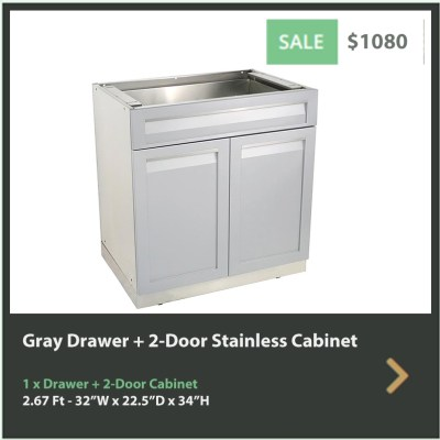 1080 4 Life Outdoor Gray Stainless Steel Outdoor Kitchen 3 Drawer Cabinet