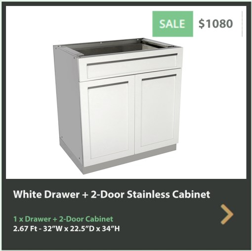 1080 4 Life Outdoor White Stainless Steel Outdoor Kitchen 3 Drawer Cabinet