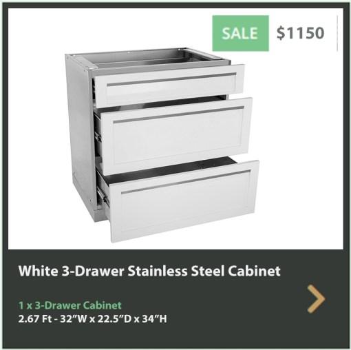 Dealer Design - Zury - Kristine Rowen - White 6 PC Outdoor kitchen: 1xBBQ Grill Cabinet, 4 x 3-Drawer Cabinet, 1 x 2-Door Cabinet 10