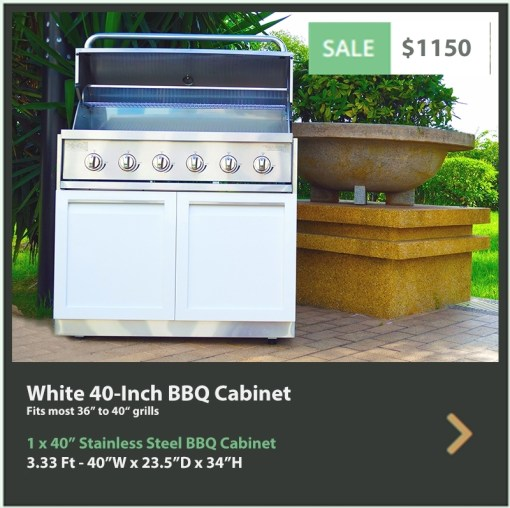 1150 4 Life Outdoor White Stainless Steel Outdoor Kitchen 40-inch BBQ Grill Cabinet
