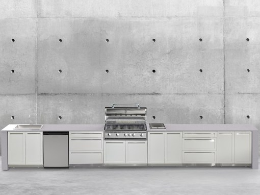 Customer Image - Collins - White 7 PC Outdoor Kitchen: 2x2-Door Cabinet, 3xDrawer+2-Door Cabinet, 1xBBQ Grill Cabinet, 1 x 3-drawer cabinet 13