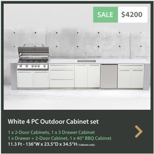 4200 4 Life Outdoor Product Image 4 PC Set White Stainless Steel Cabinets 1x2 door Cabinet, 1 x 3 Drawer Cabinet, 1 x drawer 2-door cabinet, 1x40BBQ Cabinet