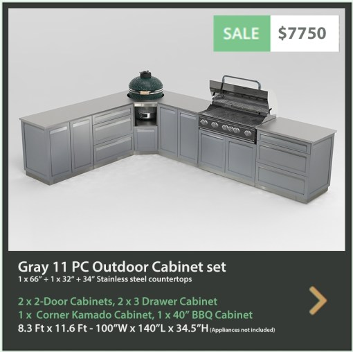 Gray 11 PC Dual Grill Outdoor Kitchen: 2 x 2-Door Cabinets, 2 x 3-Drawer Cabinets, 1xBBQ Grill Cabinet, 1xKamado Grill Cabinet, 2 x side panels, 32 34 66 Countertops 13