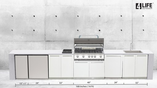 Dealer Image Kasamia Interiors: White 4 PC Stainless Steel Outdoor Kitchen: 2 x 2-door cabinets, 1 x BBQ Cabinet, 1 x side panel 11