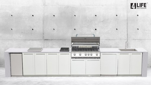 Dealer Image Kasamia Interiors: White 5 PC Stainless Steel Outdoor Kitchen: 3 x 2-door cabinets, 1 x BBQ Cabinet, 1 x side panel 11