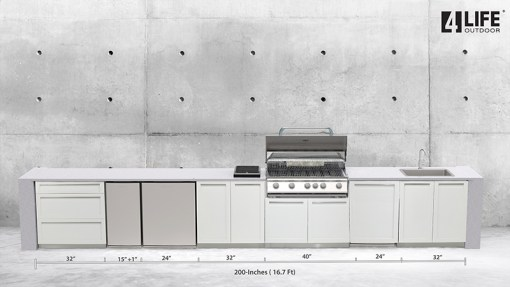 Dealer Image Kasamia Interiors: White 5 PC Stainless Steel Outdoor Kitchen: 2 x 2-door cabinets, 1 x 3-drawer cabinet, 1 x BBQ Cabinet, 1 x side panel 13