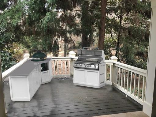Customer Image Schlehuber: White 6 PC Stainless Steel Outdoor Kitchen: 2 x 2-door cabinets, 1 x Corner Kamado Cabinet, 1 x BBQ Cabinet, 2 x side panels 11