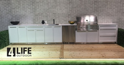 Dealer Image Kasamia Interiors: White 5 PC Stainless Steel Outdoor Kitchen: 2 x 2-door cabinets, 1 x 3-drawer cabinet, 1 x BBQ Cabinet, 1 x side panel 17