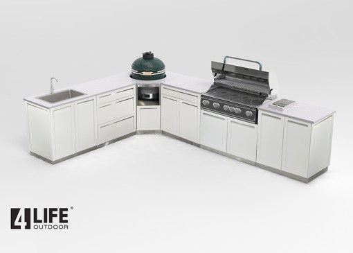 Customer image: S Barr - White 8 PC Outdoor Kitchen: 2 x 2-door Cabinet, 1 x 3-drawer, 1 x drawer+2-door, 1xBBQ Cabinet, 1xCorner Kamado Cabinet, 2 x side panels 17