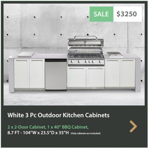 Dealer Design - Zury - PLAMEN DIMOV - White 3 PC Outdoor kitchen: 1xBBQ Grill Cabinet, 2 x 2-Door Cabinet 5