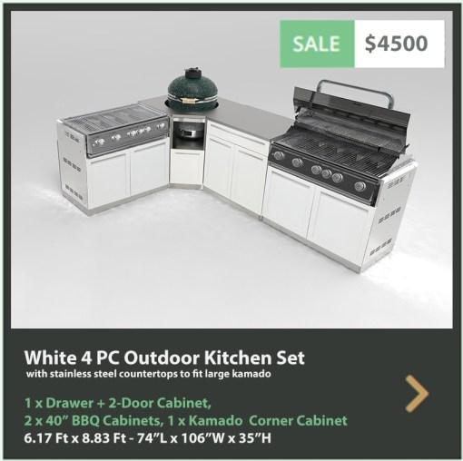 "White 5 PC Outdoor Kitchen: 1 x Drawer+2-Door Cabinet, 2xBBQ Cabinet, 1xKamado Corner Cabinet, 1 x 32"" stainless top 5"