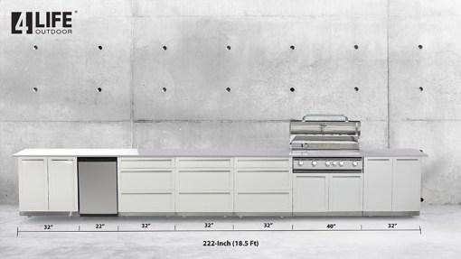Dealer Design - Zury - Kristine Rowen - White 6 PC Outdoor kitchen: 1xBBQ Grill Cabinet, 4 x 3-Drawer Cabinet, 1 x 2-Door Cabinet 9