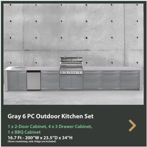 Dealer Design - Zury - Kristine Rowen - Gray 6 PC Outdoor kitchen: 1xBBQ Grill Cabinet, 4 x 3-Drawer Cabinet, 1 x 2-Door Cabinet 13